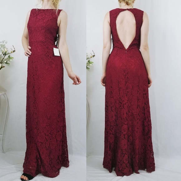 a9fcdb2015 Brilliant Babe Wine Red Lace Maxi Dress NWT